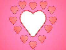 Composition of hearts on pink background with place for photo or inscription. Digital illustration. 3d render. Graphic composition with hearts on pink Stock Images