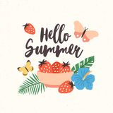 Composition with Hello Summer lettering written with beautiful cursive font decorated with seasonal elements - bowl with stock illustration