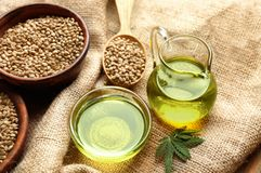 Composition with hemp oil and seeds stock image