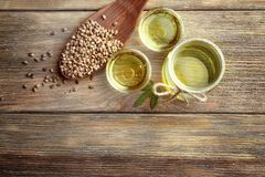 Composition with hemp oil and seeds stock photography