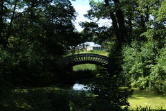 Composition. Historical building in Monrepo Park and a bridge. Royalty Free Stock Photography
