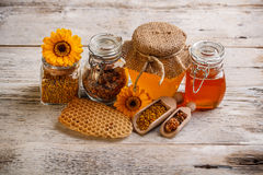 Composition of honey Stock Photos