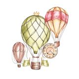 Composition with hot air balloons and blimps, watercolor illustration. Element for design of invitations, movie posters Royalty Free Stock Images