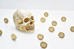 Composition with human skull and coins. Stock Images
