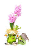 Composition with hyacinth, birdhouse and eggs Stock Photo