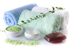 Composition of hygiene and wellness accessories Royalty Free Stock Image