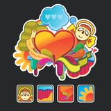 Composition and icons with an angel royalty free illustration