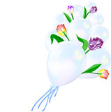 The composition of inflatable balloons and flowers Stock Photos