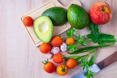 Composition and ingredients for cooking on table stock photos