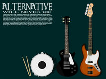 Composition of instrument of alternative band Stock Image
