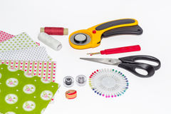 Composition of instruments, items and fabrics for patchwork hobb Stock Photos