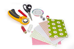 Composition of instruments, items and fabrics for quilting hobby. Composition of instruments, items and fabrics for patchwork hobby Stock Images