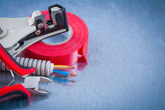 Composition of Insulating tape wire protection cables sharp nipp Royalty Free Stock Images