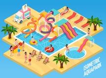 Composition isométrique colorée en Aquapark de parc aquatique illustration libre de droits