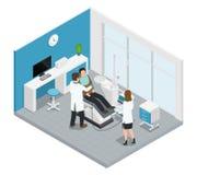 Composition isométrique colorée en art dentaire de stomatologie illustration libre de droits