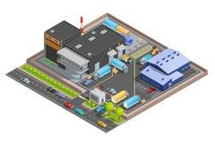 Composition isométrique d'entrepôt illustration stock