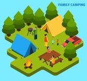 Composition isométrique de camper et en voyage illustration stock