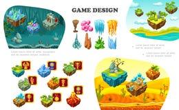 Composition isométrique en éléments de concepteur du jeu illustration stock