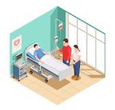 Composition isométrique en amis de visite d'hôpital illustration stock