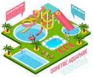 Composition isométrique en Aquapark illustration stock