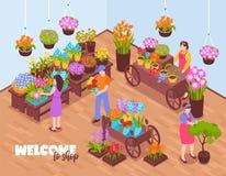 Composition isométrique en boutique de fleuristes illustration stock
