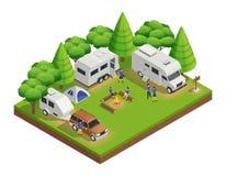 Composition isométrique en camping-cars illustration stock