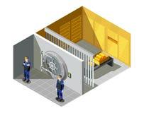 Composition isométrique en chambre forte d'or de banque illustration de vecteur