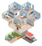 Composition isométrique en chambres d'hôpital illustration de vecteur