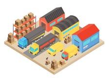 Composition isométrique en concept d'entrepôt Stockage moderne de bâtiment avec des employés et des étagères avec des boîtes Vect