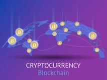 Composition isométrique en Cryptocurrency et en Blockchain illustration de vecteur