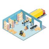 Composition isométrique en entrepôt illustration de vecteur