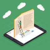 Composition isométrique en icônes d'éducation en ligne avec le calcul électronique de bibliothèque et de nuage de smartphone de l illustration stock