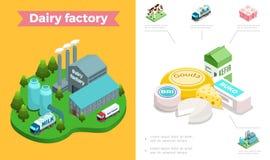 Composition isométrique en industrie laitière illustration stock