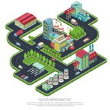 Composition isométrique en infrastructure d'usine illustration stock