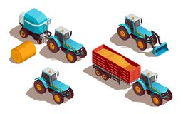 Composition isométrique en machines agricoles illustration libre de droits