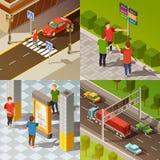 Composition isométrique en navigation de ville illustration libre de droits
