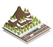Composition isométrique en paysage de montagnes d'hiver illustration de vecteur