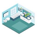 Composition isométrique en salle de bains illustration de vecteur