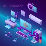 Composition isométrique en technologie d'Iot illustration stock