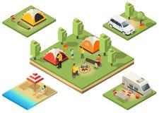 Composition isométrique en territoire de camping illustration stock