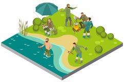 Composition isométrique en tourisme de pêche illustration stock