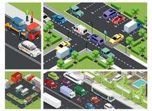Composition isométrique en trafic urbain illustration de vecteur