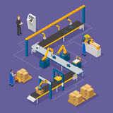 Composition isométrique en usine illustration de vecteur
