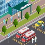 Composition isométrique en voisinage d'hôpital illustration stock