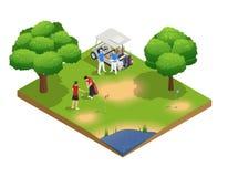Composition isométrique en vue supérieure de terrain de golf vert illustration libre de droits