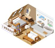 Composition isométrique intérieure en appartement illustration libre de droits
