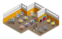 Composition isométrique intérieure en usine de vêtements illustration de vecteur