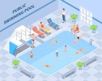 Composition isométrique publique en piscine illustration libre de droits