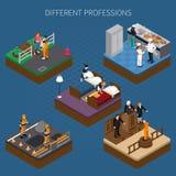 Composition isométrique uniforme en professions Images stock