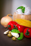 Composition of italian food ingredients stock photography